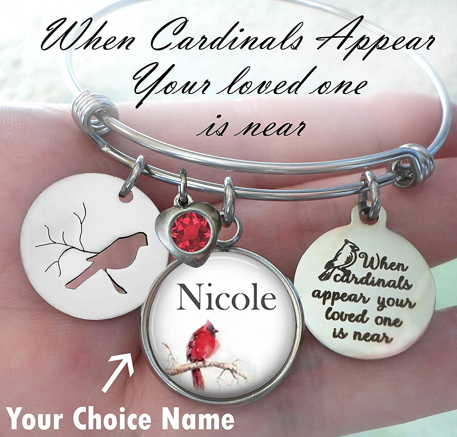 When Cardinals Appear Your Loved One Is Near,Custom Name Memorial Bangle Bracelet, Grief Relief, Sympathy Bereavement Gift, 4 Sizes, Little Girl, Teens, Small, Medium or Large