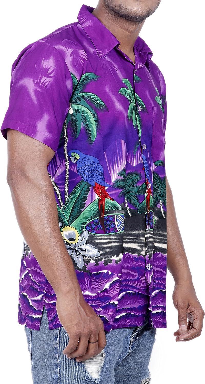 Virgin Crafts Funky Hawaiian Shirts for Men Short Sleeve Parrot Print Aloha