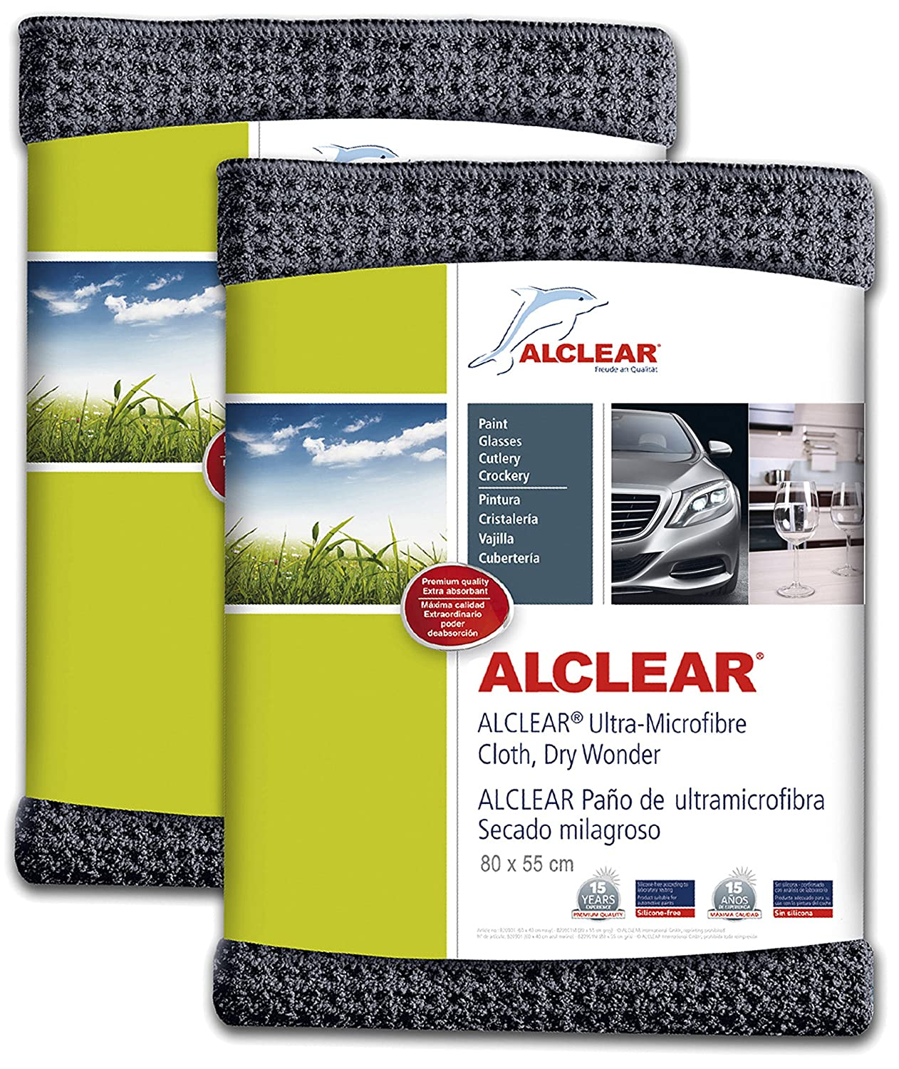 Amazon.com: ALCLEAR 820901M Ultra-microfiber Cloth Dry Wonder Maxi after car wash. Grey. Size: 31.50 x 21.65 in. Double Set.: Automotive