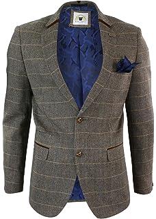 marc darcy Herrensakko Braun Fischgr/äte Tweed Design Eng Tailliert 2 Knopf Design