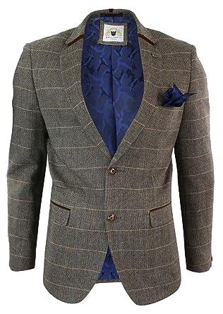 23b878898f7ba Veste homme tweed à chevrons Marc Darcy marron clair coupe cintrée  fermeture à 2 boutons  Amazon.fr  Vêtements et accessoires