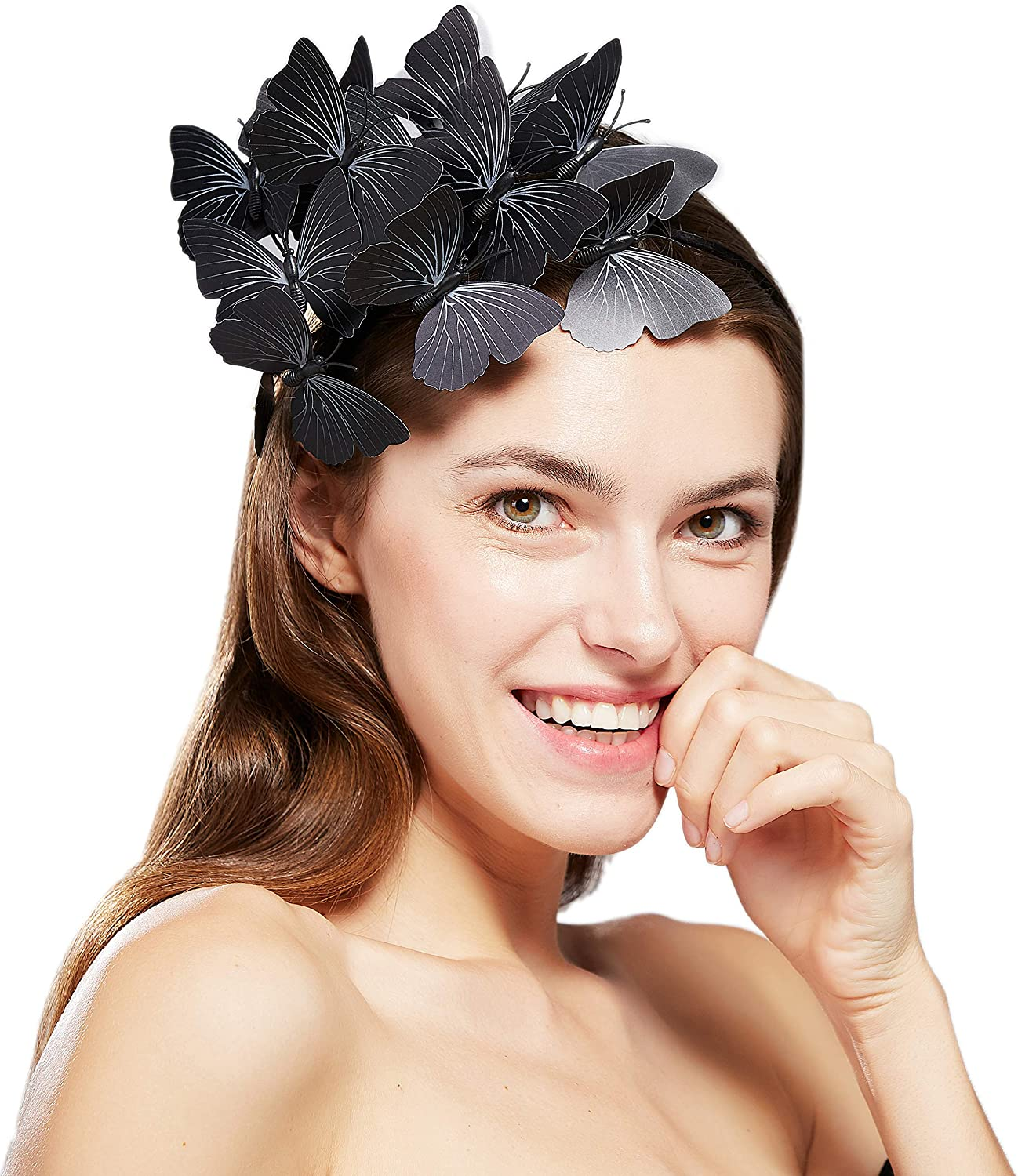 Coucoland Butterfly Fascinator Hat Kentucky Derby Fascinators Halo Style Headband Butterfly Headpiece