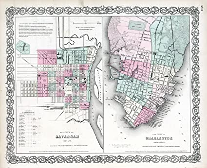 Savannah South Carolina Map.Amazon Com World Atlas 1869 Savannah Georgia Charleston South