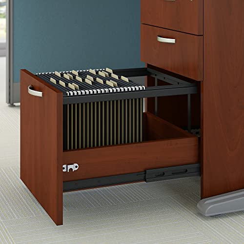 Bush Business Furniture L-Workstation And Storage Kit, 65 x 65 , Hansen Cherry