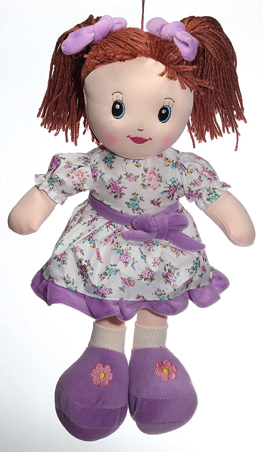 Calplush 12 Brunette Hair Girl with Pigtails and Flower Dress Animal Plush 9213-12 purple with brunette hair
