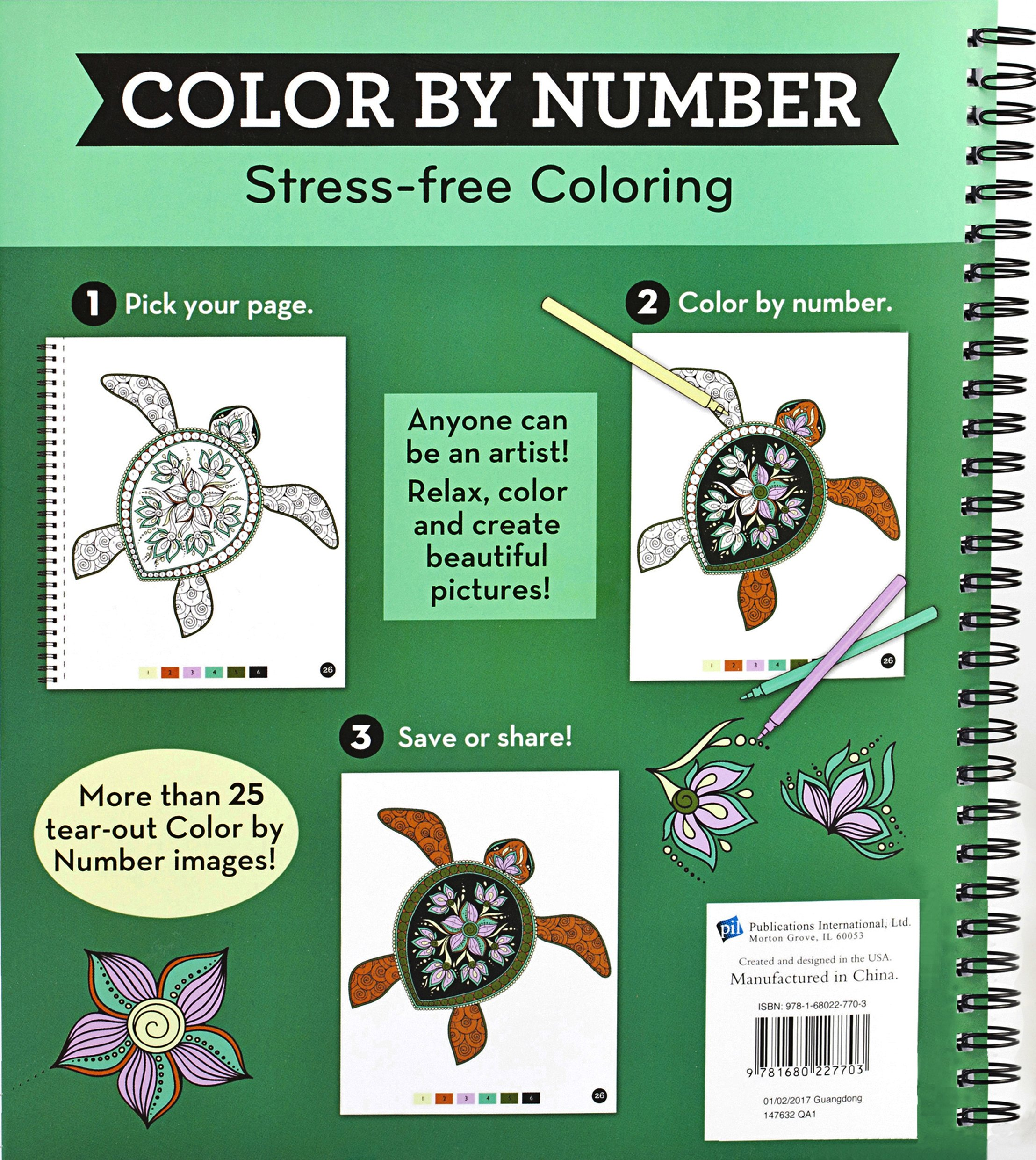 Amazon.com: Brain Games® Color by Number: Stress-Free Coloring ...