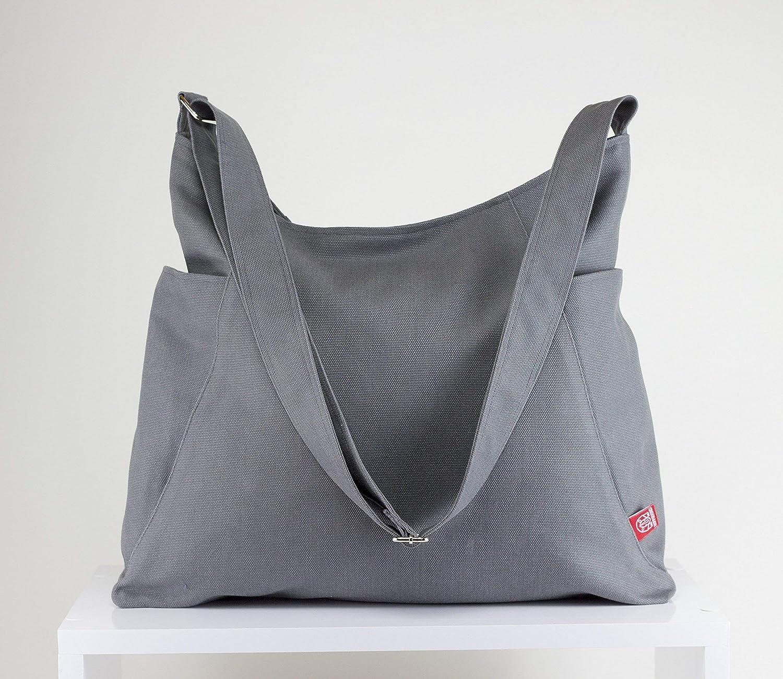 0c23c00b6343c Amazon.com: Gray Hobo Bag Handmade Gift Ideas Two Pocket on Two Both ...