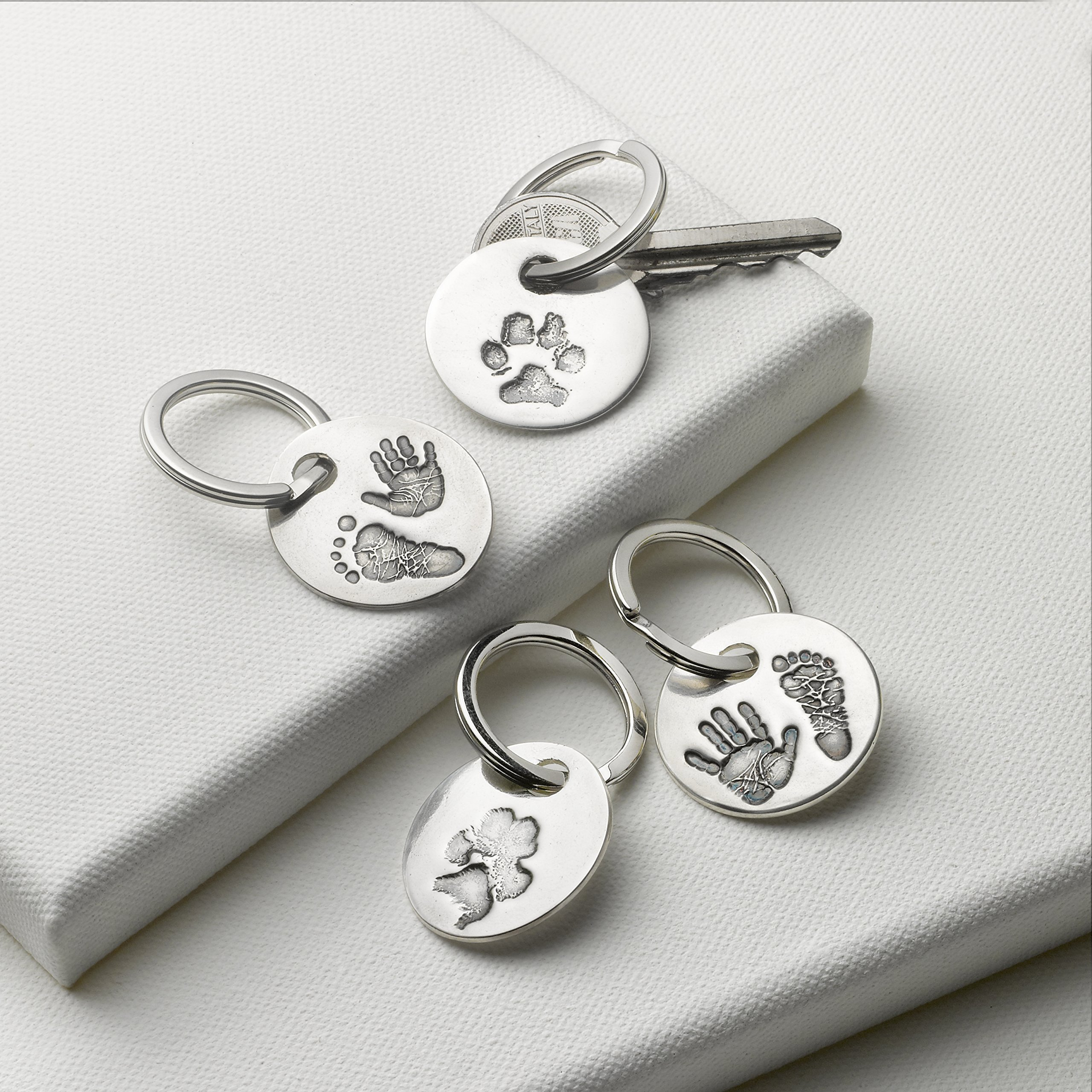 Personalized Print Keyring with Yours or Your Own Child's Handprint and Footprint Impressions