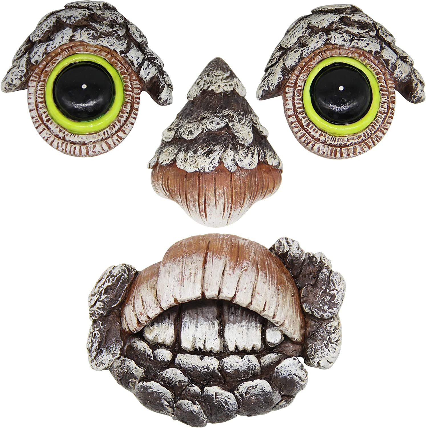 Zcaukya Tree Face Decor Glow Eyes in Dark, Fun Old Man Tree Sculpture Outdoor Yard Art Garden Decorations, 4 Pieces