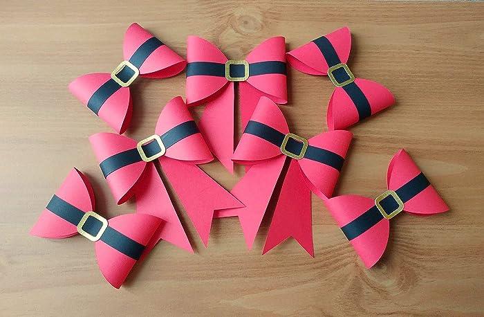 Amazon Com Paper Santa Bows Set Of 5 Gift Wrapping Ideas Handmade