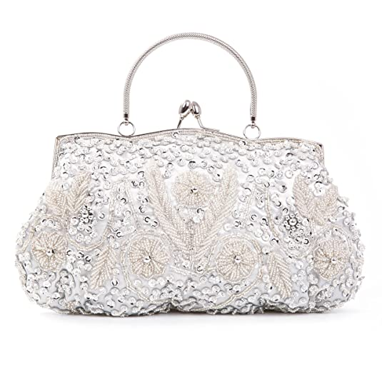 Vintage Inspired Wedding Accessories Kisschic Vintage Beaded Sequin Design Clutch Purse For Women Evening Bag $23.99 AT vintagedancer.com