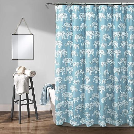 Turquoise//Pink 72 x 72 Lush Decor 16T000122 Elephant Stripe Shower Curtain