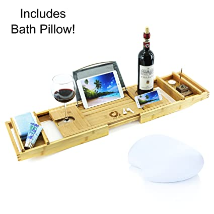 Amazon.com: Adorn Home Essentials ADORN Bamboo Bathtub Caddy Bath ...