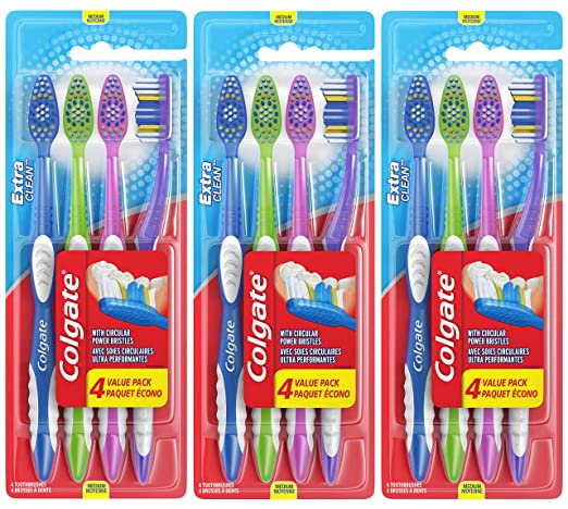Colgate Extra Clean Full Head Toothbrush, Medium - 4 Count (Pack Of 3)