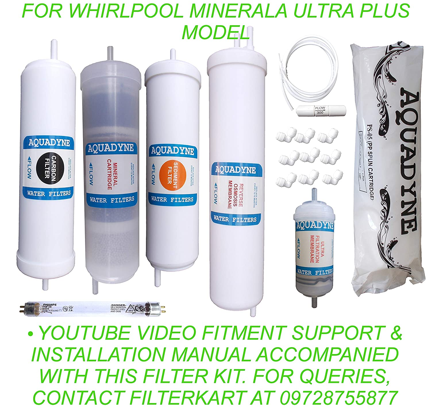 af354355c4 Aquadyne Filter Service Kit for Whirlpool Minerala Ultra Plus RO + UV + UF Water  Purifier with Installation Guide and Video Fitment Support, 1- Piece, White