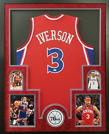 e462b573569 Allen Iverson Philadelphia 76ers Autograph Signed Custom Framed Jersey Red  Suede Matted JSA Witnessed Certified