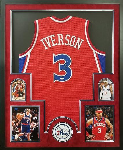 9c38af9301c Allen Iverson Philadelphia 76ers Autograph Signed Custom Framed Jersey Red  Suede Matted JSA Witnessed Certified