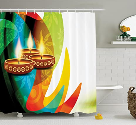 Diwali Decor Shower Curtain By Ambesonne, Modern Rainbow Colored Detailed  Paisley Decor With Festive Candle