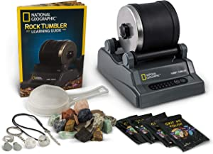 NATIONAL GEOGRAPHIC Hobby Rock Tumbler Kit - Includes Rough Gemstones, 4 Polishing Grits, Jewelry Fastenings & Detailed Learning Guide