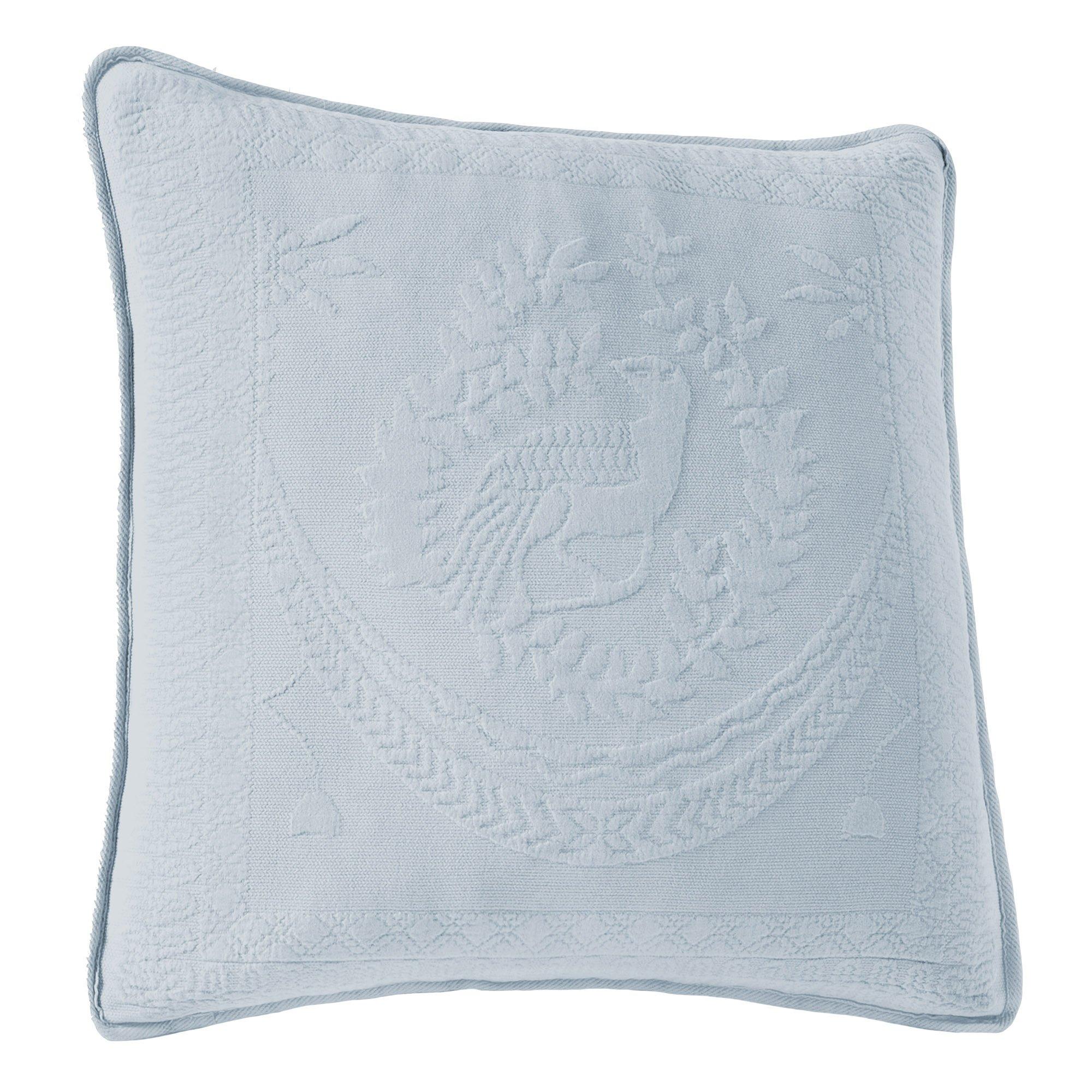 Historic Charleston 13995020X020BLU King Charles Matelasse 20-Inch by 20-Inch Decorative Pillow, Blue