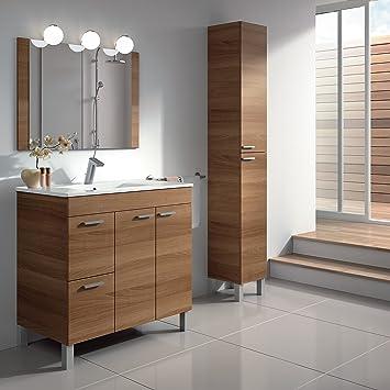 Baltic Nogal 2 Puertas + 2 cajones 80 cm Cuarto de baño bajo Lavabo/Mueble Armario con Lavabo y Espejo: Amazon.es: Hogar
