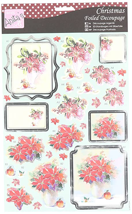 Docrafts Anitas Christmas Decoupage Foiled White Flowers