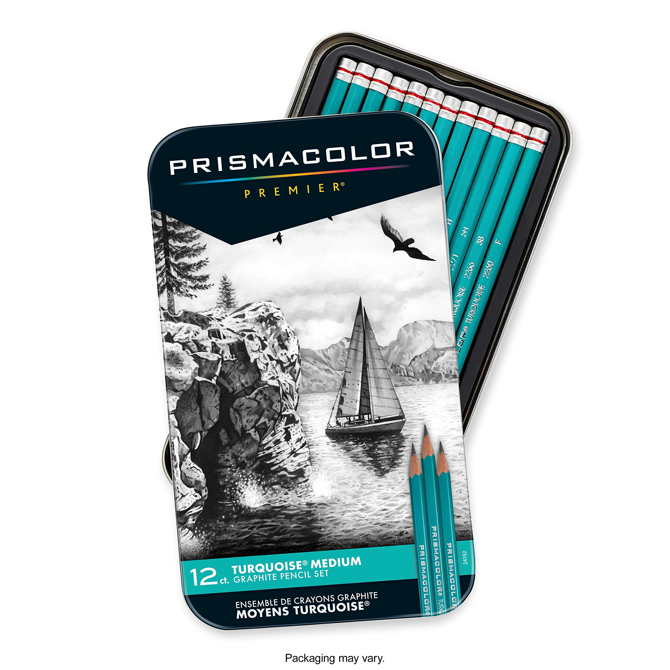 Prismacolor 24192 Premier Turquoise Graphite Sketching Pencils, Medium Leads, 12-Count by PRISMACOLOR