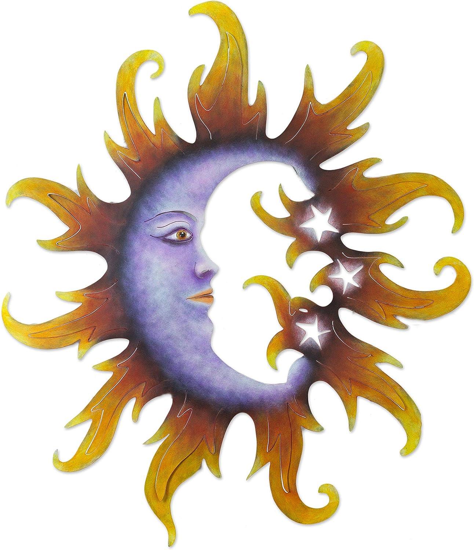 NOVICA Star Steel Wall Mural, Orange and Purple, Crescent Moon and Stars'