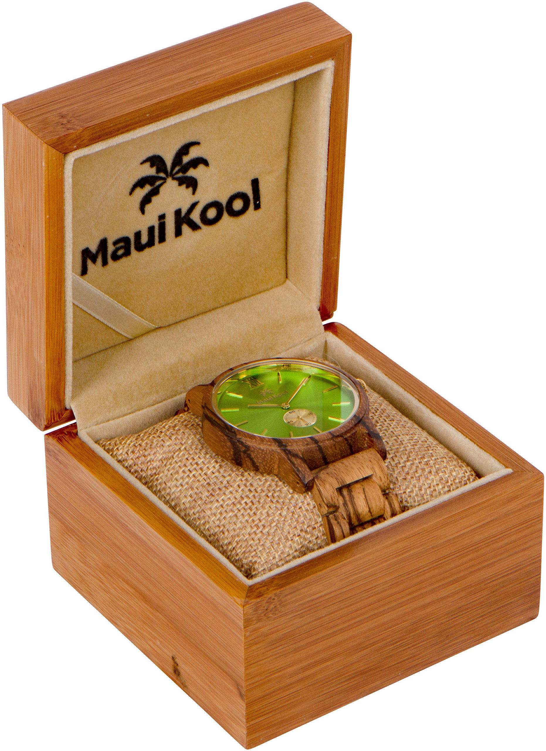 Wooden Watch For Men Maui Kool Kaanapali Collection Analog Large Face Wood Watch Bamboo Gift Box (C6 - Green Face) by Maui Kool (Image #1)