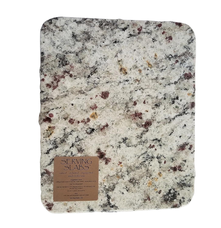 "Handmade Reclaimed Granite Cheeseboard with Rough Chiseled Edge, 12"" x 11"", White"