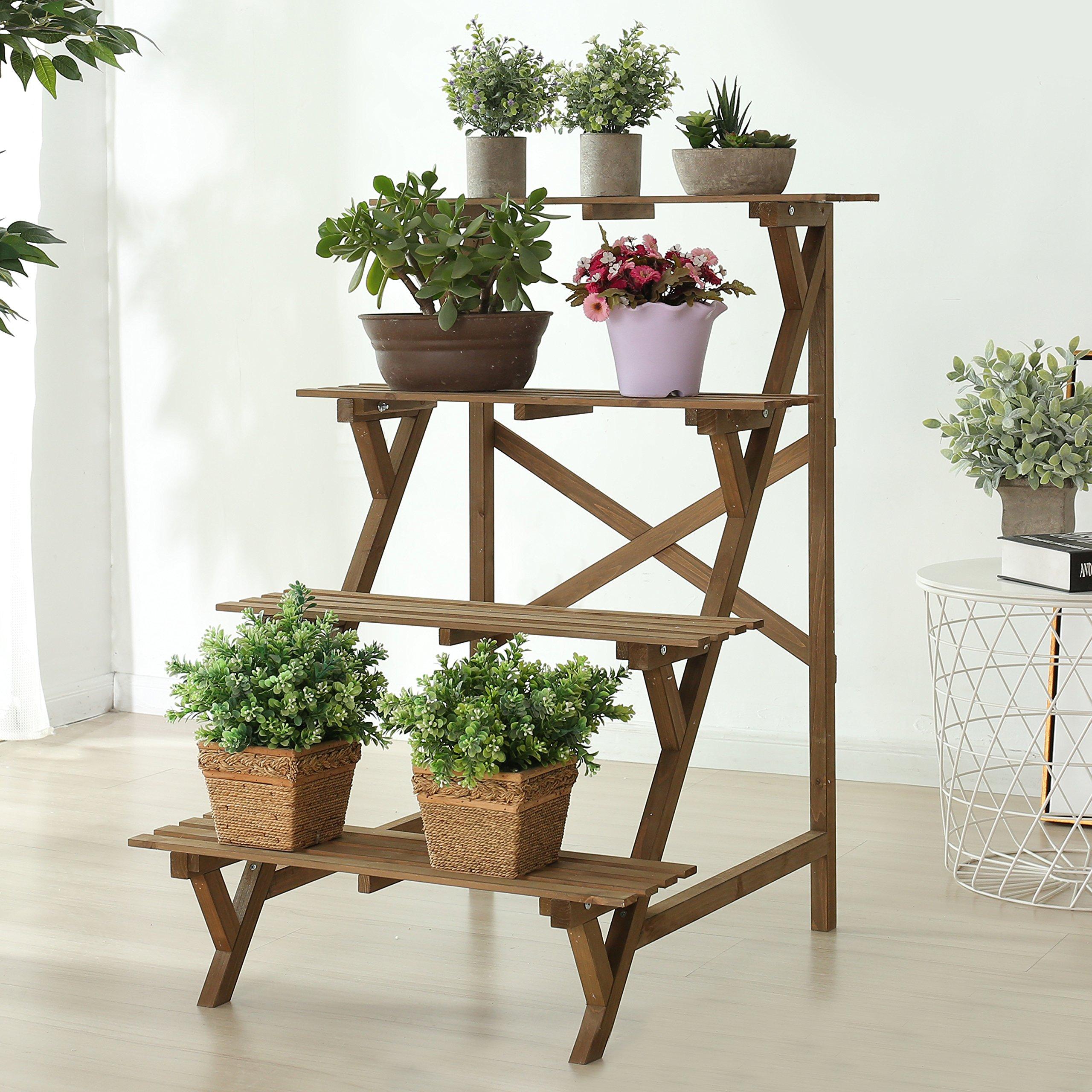 4 Tier Wood Slat Plant Rack, Indoor / Outdoor Garden Display Stand Shelf