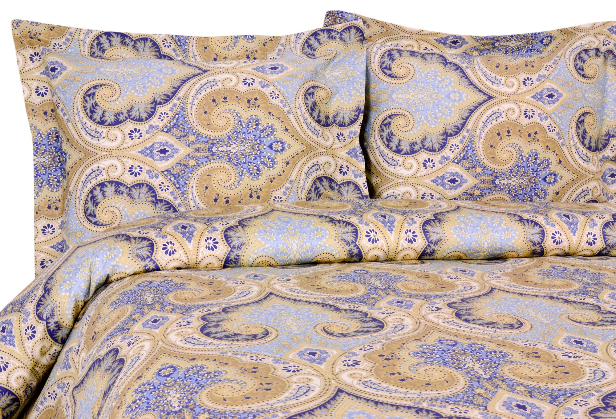Elite Home Products Milano Paisley Collection 300 Thread Count Sateen 3-Piece Duvet/Sham Set, King, Blue