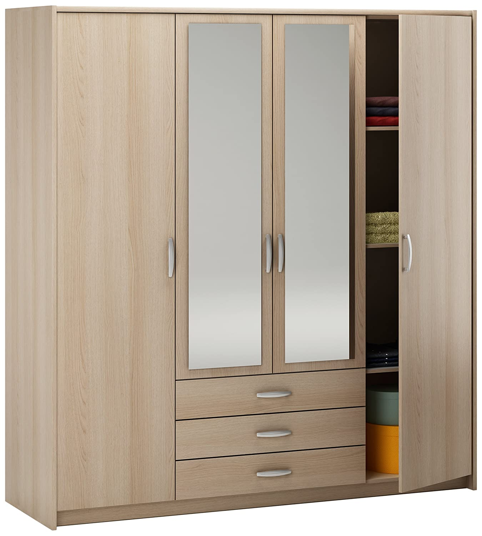 Great Demeyere Manhattan 4 Door 3 Drawer Wardrobe, 200 X 189 X 60 Cm, Light Oak:  Amazon.co.uk: Kitchen U0026 Home