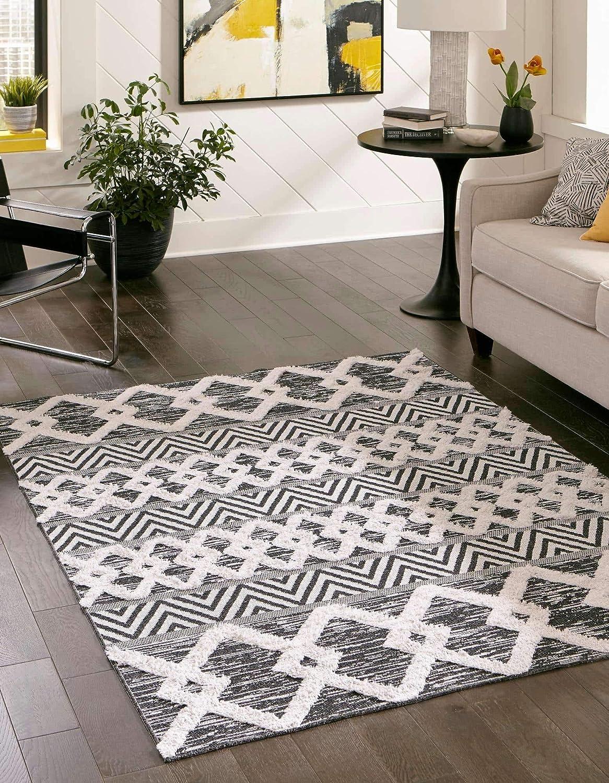 Amazon Com Unique Loom Sabrina Soto Casa Collection Modern Geometric Black Ivory Area Rug 8 3 X 10 0 Furniture Decor