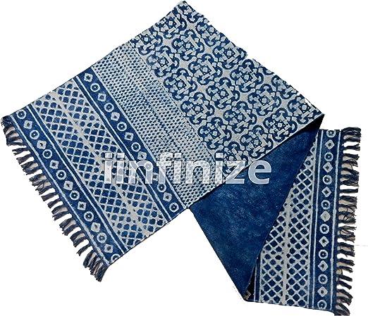 iinfinize – Alfombra Decorativa para Yoga o Interiores, 100% algodón, Color Azul índigo, 2 x 6 pies: Amazon.es: Hogar