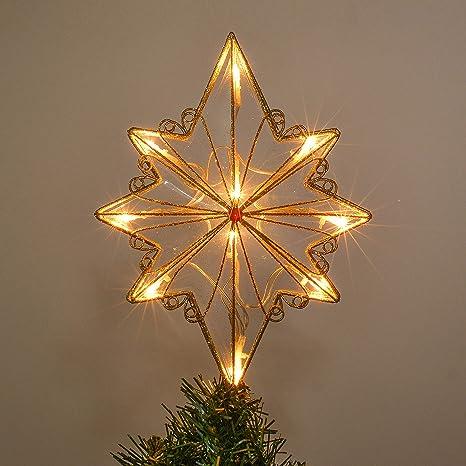 Stella Di Natale A Batteria.Valery Madelyn Illuminata Top Albero Di Natale Con Stella Alimentata