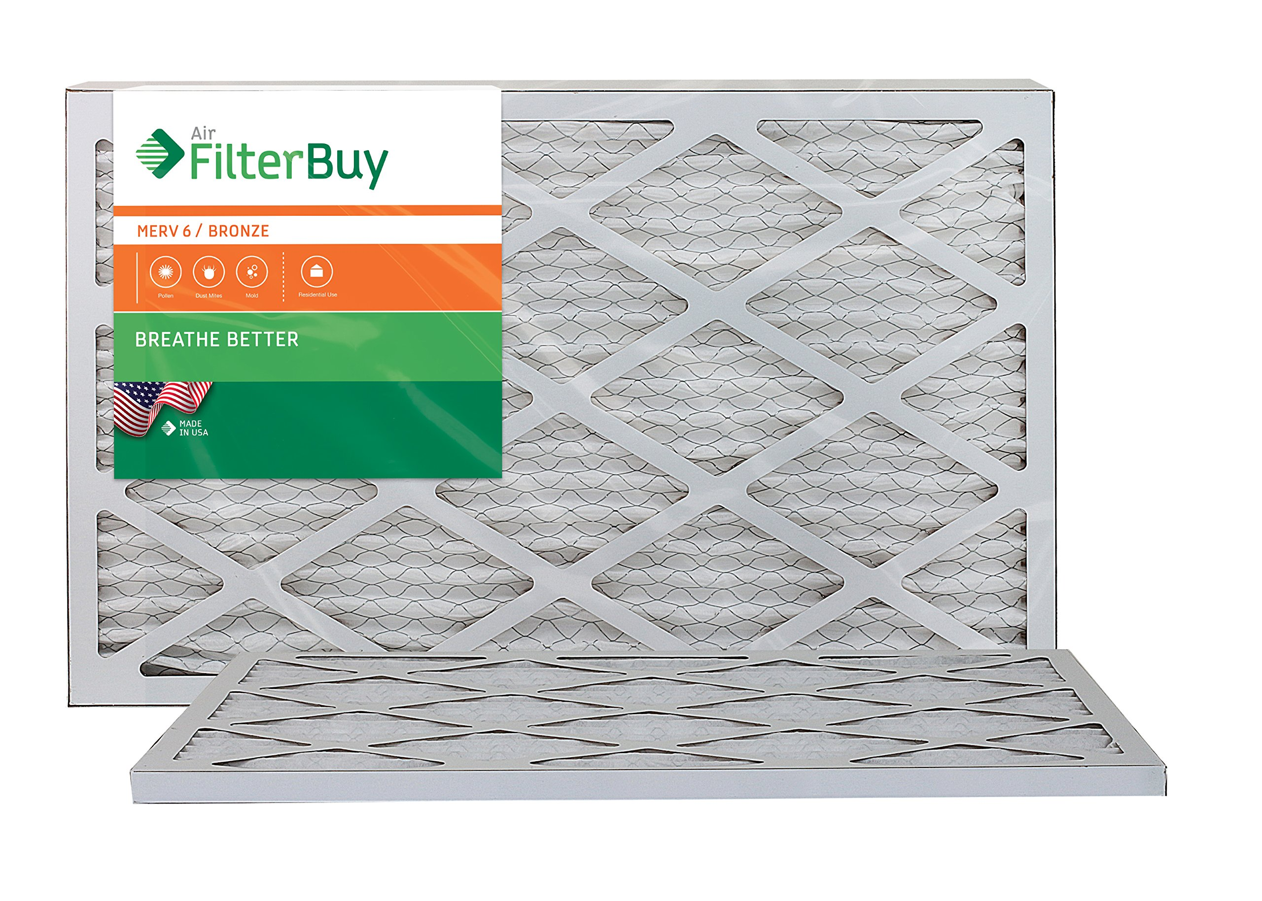 AFB Bronze MERV 6 13x20x1 Pleated AC Furnace Air Filter. Pack of 2 Filters. 100% produced in the USA.