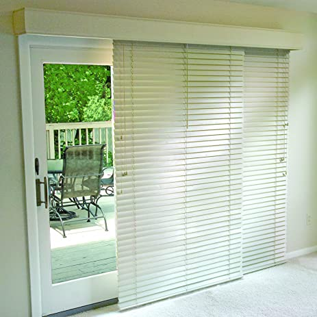 Glider Blinds Track System For Sliding Glass Patio Doors (White, 76u0026quot; W  X