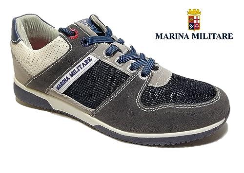 643c4492e4bfa4 Marina Militare Scarpe Uomo Sneaker CAMOSCIO Blu Plantare MEMRY Foam -  MM318 (43 EU)