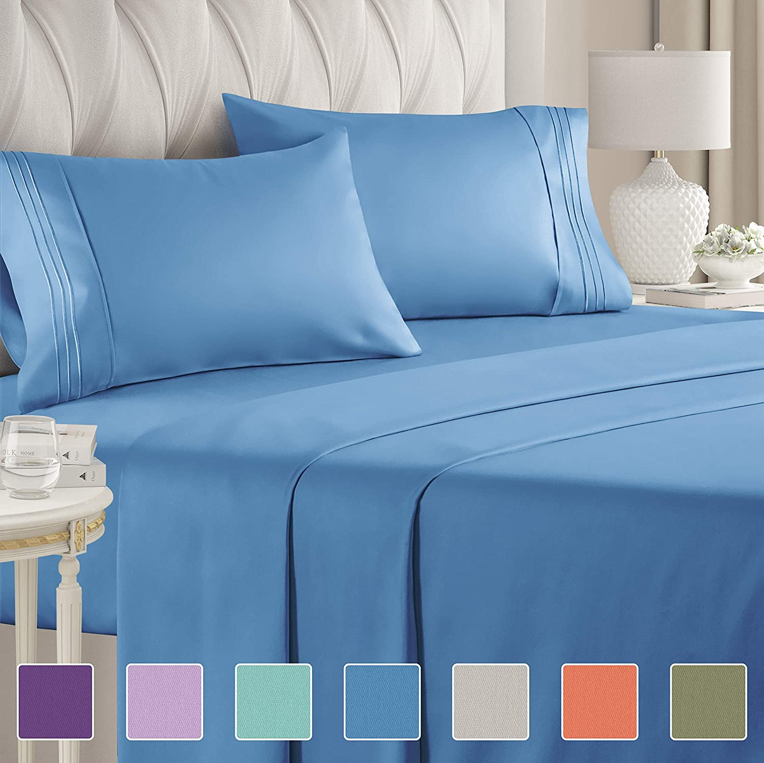 California King Size Sheet Set – 4 Piece - Hotel Luxury Bed - Extra Soft - Deep Pockets - Breathable & Cooling - Wrinkle Free - Comfy – Denim Blue Sheets - Cali Kings Sheets Denim Blue 4PC