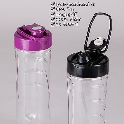 Batidora de vaso para smoothie | Smoothie Maker | Mix & Go | 350 W | acero inoxidable | Interruptor ON/OFF | 2 botellas de 600 ml sin BPA | 4 patas de ...