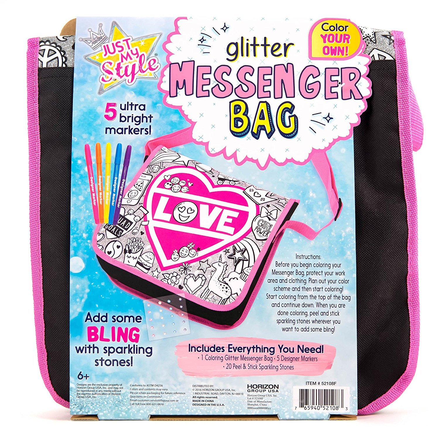 Just My Style Color Your Own Glitter Messenger Bag by Horizon Group USA by Just My Style (Image #4)