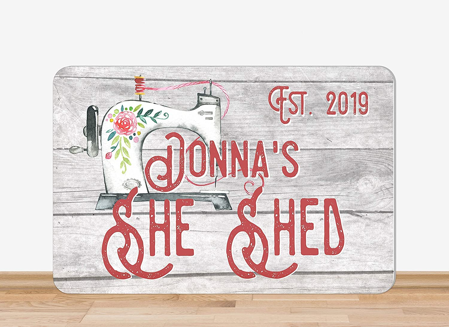 Outdoor Flowers She Shed Sewing Metal Sign Personalized Sewing Machine Vintage Look Wood Look
