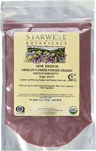 Starwest Botanicals Organic Hibiscus Flower Powder, 4 Ounces