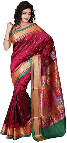7dfadcb43265bd ... ARUNAFASHIONS Women s Paithani Art Silk Saree with Blouse Piece