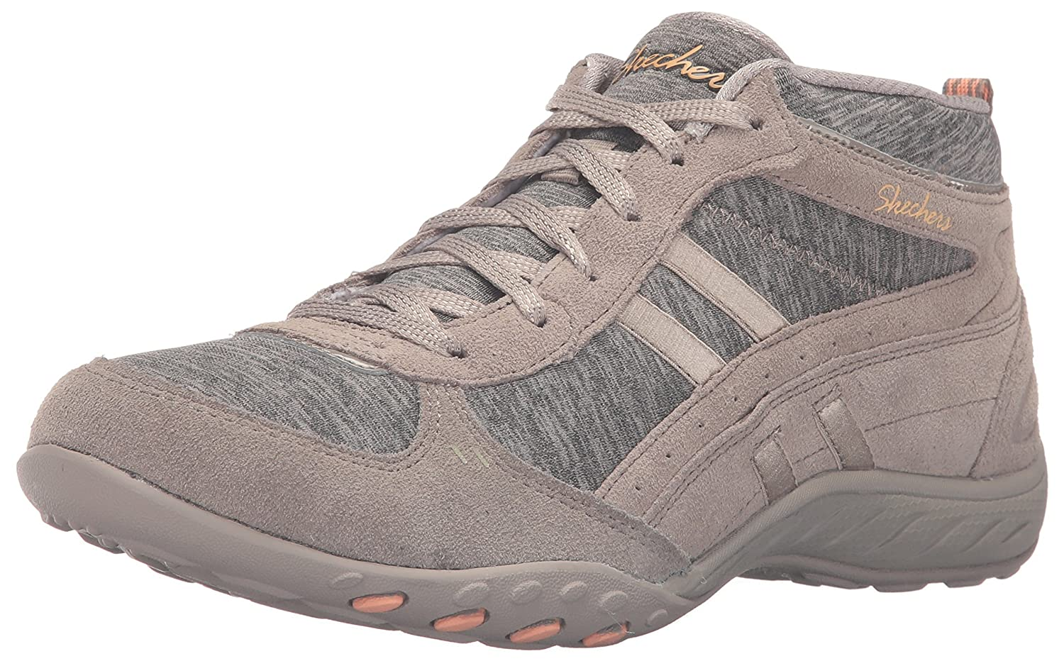 Skechers Sport Womens Breathe Easy Shout Out Fashion Sneaker  9.5 B(M) US|Taupe Suede/Jersey/Peach Trim