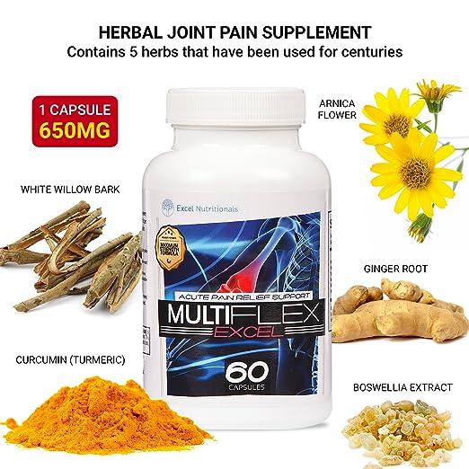 Multiflex: Suplemento para las Articulaciones Ayuda a aliviar el dolor de las articulaciones con Curcumina (Curcuma), Corteza de Sauce Blanco y Extracto de ...