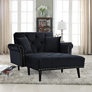 Divano Roma Furniture Modern Velvet Fabric Recliner Sleeper Chaise Lounge - Futon Sleeper Single Seater with Nailhead Trim (Black)