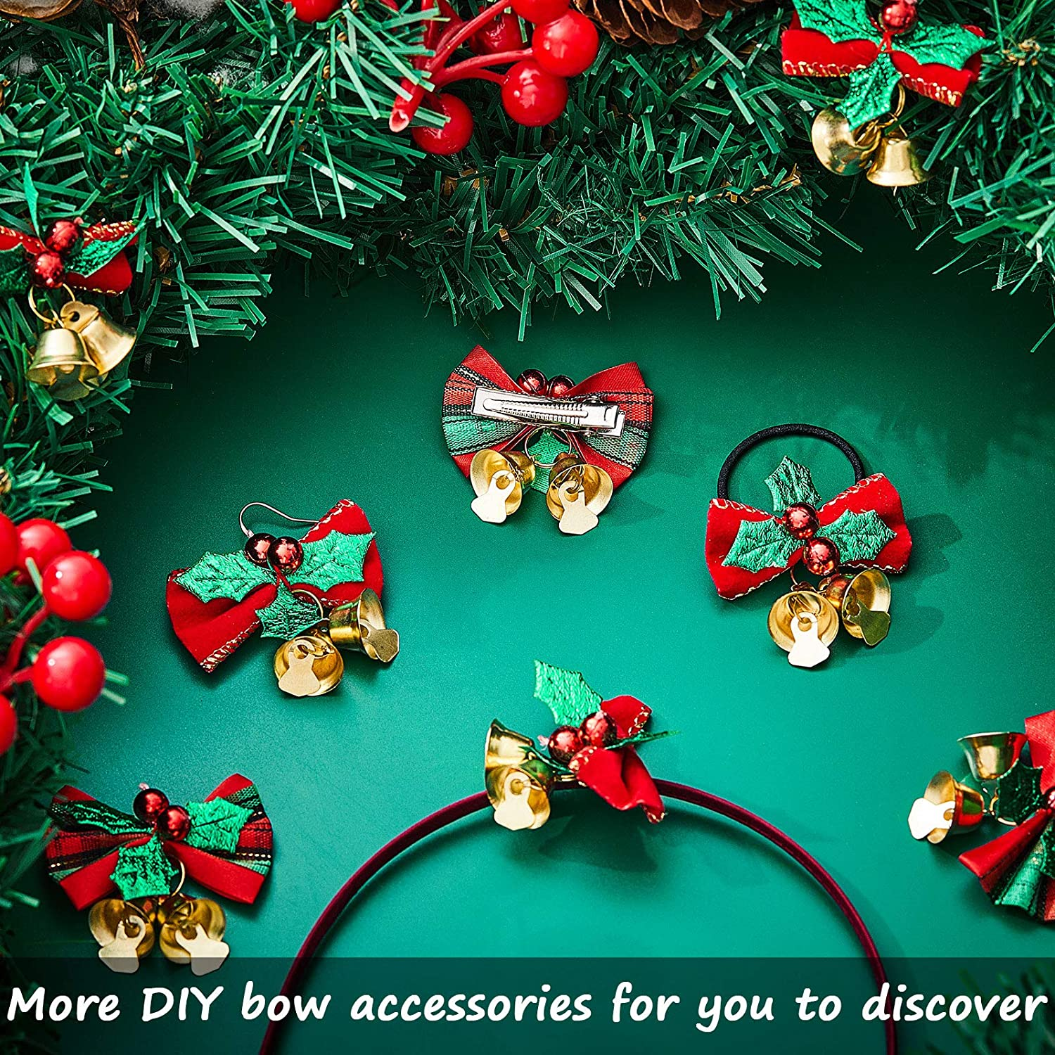 2 Styles 24 Pieces Christmas Bow with Bells Christmas Tree Hanging Wreath Decorations Bowknot Ribbon Bows for Christmas Tree Presents Decorations Charms Ornaments