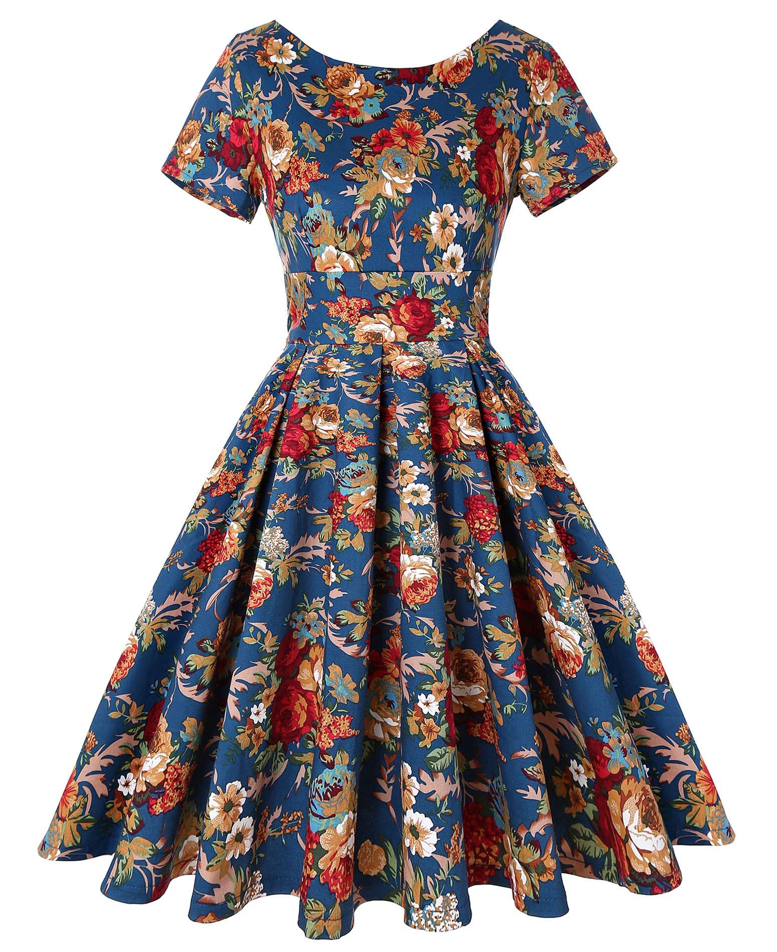 ROOSEY Women's Vintage 1950s Retro Rockabilly Prom Dresses Short Sleeve